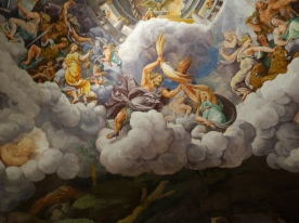 Palazzo Te - Giulio Romano, Fall of the Giants; the artist creates the illusion of a dome in a rectangular room through a continuous floor-to-ceiling painting