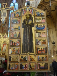 Santa Croce, Bardi Chapel: Life of St. Francis by unknown artist (1250); this work, done in the static Byzantine style, shows just how revolutionary the art of 14th C Florence was