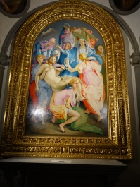 Church of Santa Felicita, Capponi Chapel: Deposition by Pontormo (1525): they are taking Jesus down from the Cross, but the Cross is not in the picture, creating a strikingly modern effect