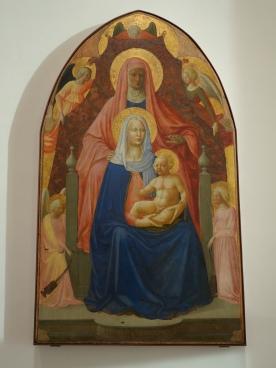 Galleria degli Uffizi: Madonna and Child with Saint Anne - Masaccio (and Masolino), 1424: this painting seems to speak with the more famous Trinity of Masaccio in Santa Maria Novella.