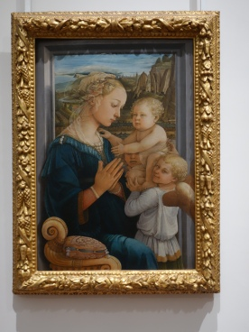 Galleria degli Uffizi, Madonna and Child, Filippo Lippi (1450 - 1465); the model for the Virgin is believed to have been Lippi's giflriend, Lucrezia Buti, and the infant may be their son Filippino (later a painter in his own right)