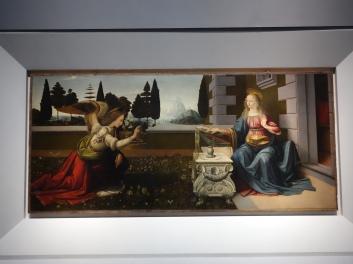 Galleria degli Uffizi: Annunciation, Leonardo da Vinci (1472-75);