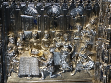 Duomo Museum: The Silver Altar of St, John the Baptist; detail showing Herod's feast and St. John's head on a plate