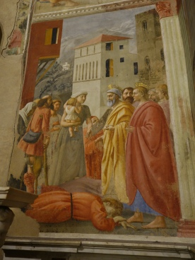 Brancacci Chapel: The Distribution of Alms and the Death of Ananias - Masaccio, 1425-7