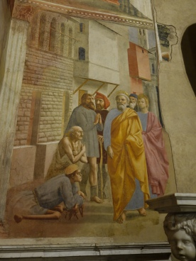 Brancacci Chapel: St. Peter Heals the Sick with His Shadow -- Masaccio, 1425-7
