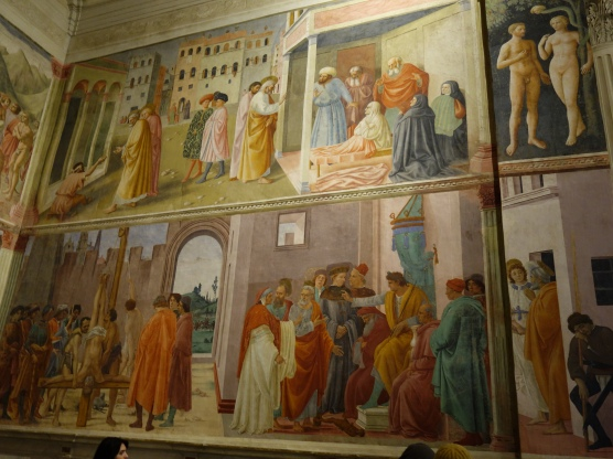Brancacci Chapel: Filippino Lippi - Preaching of St. Peter with the Healing of the lame man and the raising of Tabitha - Masolino, 1425-7 (top); Disputation with Simon Magus (bottom)