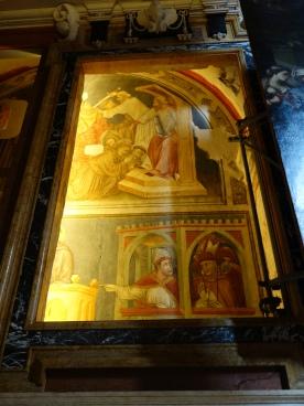 St. Fermo 14C frescoes under 16C painting